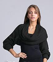 Модный женский свитер-шарф черного цвета