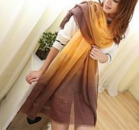 Модный женский двухцветный шарф желтого оттенка