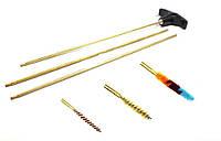 Набор для чистки оружия пневматического, калибра 4,5 мм. Шомпол латунный, трёх-коленный, под ерш, вишер и патч