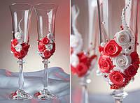 """Свадебные бокалы """"Красные розы"""""""
