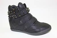 Сникерсы (ботинки) для девочек (Польша) 32-34р. чёрные