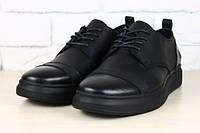 Мужские кожаные черные туфли спортивный стиль