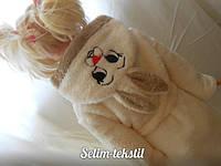 Детский халат Зайка с ушками молочный