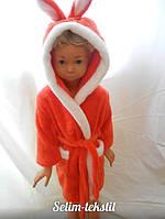 Детский халат Зайка с ушками коралловый