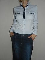 Рубашка голубая офисная женская стрейч р. 44-50 Mingtao 3252