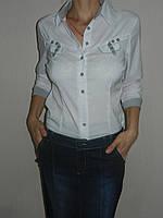 Блузка школьная белая подросток стрейч рукав 3/4 р. 42-50 Base B2219