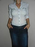 Блузка для школы подросток белая стрейч рукав 3/4 р. 42-50 Base B2140-1