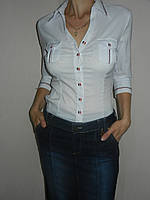 Блузка школьная подросток стрейч рукав 3/4 р. 42-50 Base B2399