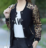 Куртка бомбер черный (леопард)
