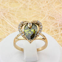 002-1581 - Позолоченное кольцо Сердце с оливково-зелёным и прозрачными фианитами, 17, 18 р.