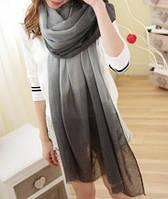Модный женский двухцветный шарф серого оттенка
