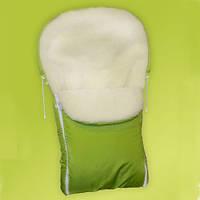 Зимний меховый конверт в санки, на коляску (салатовый)
