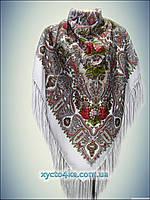 Шерстяной платок Розы ветров белый 140см