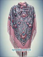 Шерстяной платок Розы ветров бледно -розовый 140см