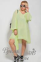 Лёгкое летнее повседневное платье с поясом. 7 цветов