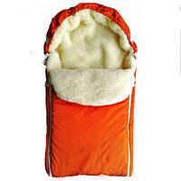 Конверт на выписку для новорожденного зима (оранжевый)