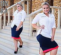 Рубашка женская из штапеля  на пуговицах со вставками Барберри белая