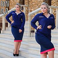 Рубашка женская из штапеля  на пуговицах со вставками Барберри темно-синяя