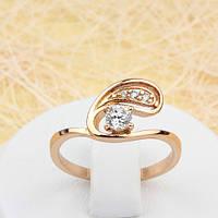 002-1601 - Красивое кольцо с прозрачными фианитами розовая позолота, 16, 18 р.