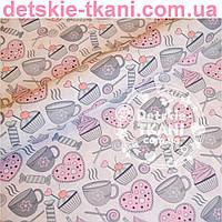 """Ткань хлопковая Bora """"Чай и сладости"""", серо-розовая ( № 350 б)"""