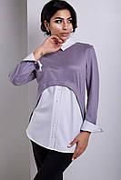 Блуза Свободного Кроя со Съемным Воротником Светло Серая р.XS-XL