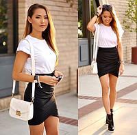 Платье бело-черное мини АН 80178