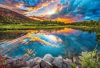 Флизелиновые фотообои Рассвет на озере  размер 368 х 248 см