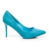 Туфли (лодочки) женские на каблуках замшевые голубого цвета