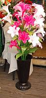 01-47 Цветы искусственные ветка лилий 5 голов