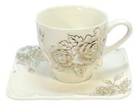 Сервиз чайный фарфоровый розовая роза RZNB10  12 предметов с подставкой