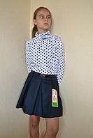 Блузка на девочку в школу в горох 134-146