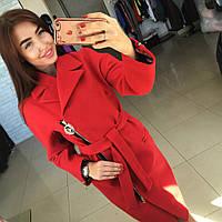 Пальто женское Риксос красное , одежда женская