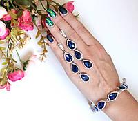 Комплект украшений браслет и серьги Essia синий, колье и серьги