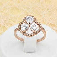 002-1649 - Замечательное кольцо с прозрачными фианитами розовая позолота, 17.5 р.
