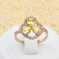 002-1651 - Замечательное кольцо с жёлтыми и прозрачными фианитами розовая позолота, 18, 19.5 р.