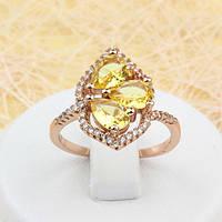 002-1653 - Эффектное кольцо с жёлтыми и прозрачными фианитами розовая позолота, 17, 18, 19.5 р.