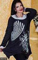 Черно белая женская удлиненная кофта с цветочным принтом рукав длинный турецкий трикотаж батал Турция