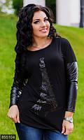 Стильная женская кофта с модным принтом и рукавами из экокожи турецкий трикотаж батал Турция