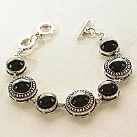 [13 мм] Браслет с натуральным камнем черный Агат серый металл оправа крестик точка круглые камни, канатик круглые камни