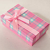 [8/5/3 см] Подарочная коробочка для для сережек и колец прямоугольная Розовые средняя 24 шт.