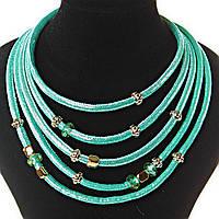 [7 мм] Ожерелье Голубая Лагуна 5 рядов мягкая ткань блестящая, внутри - плотный каркас металлический, фурнитура по типу Пандора, цвета - золото и