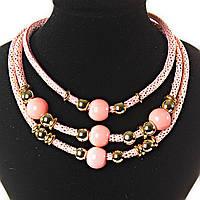 [2- 20 мм] Ожерелье розовый фламинго  3 ряда мягкая ткань блестящая, внутри - плотный каркас металлический, круглые бусины, цвета - золотой, розовый