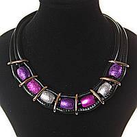 [3-20 мм] Ожерелье основа черная мягкая, вставки металл и бусины блестящие овальные, цвета: фиолетовый, розовый, серебрянный