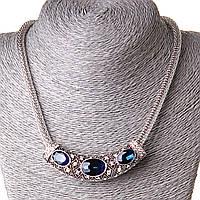 [70/20 мм] Ожерелье жгут с подвеской крупные камни стразы синий Silver