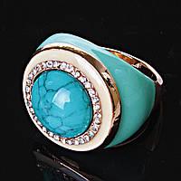 """[19,20] Перстень""""Пышный"""" круг страза голубая бирюза"""
