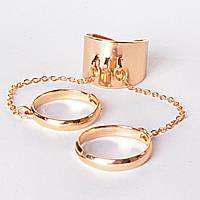 [15,16,17,18,19] Кольцо на три пальчика хомут безразмерные кольца голд