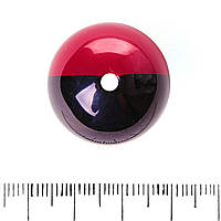 [25мм] Фурнитура для бижутерии бусина двухцветная большая, сквозное отверстие, красный и черный