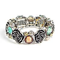 [5.5см] Браслет женский, с крупными элементами разной формы, камни цветные, декоративные