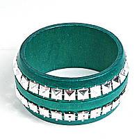 [6см] Браслет женский, твёрдый, зеленый, с инкрустацией из декоративных камней вдоль всей окружности