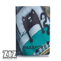 Обложка для паспорта Кот в кровати